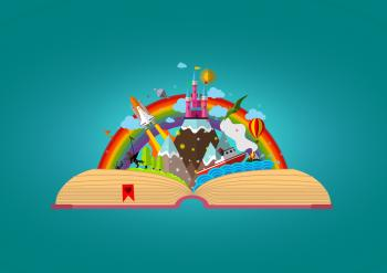 Story Book - Colorful Childhood Imagination Concept
