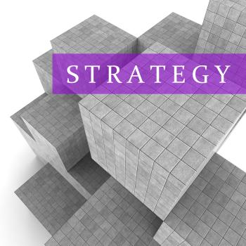 Strategy Blocks Shows Planning Solutions And Tactics 3d Rendering