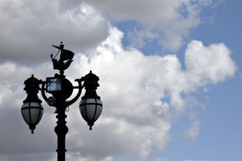 Street lights agains the sky