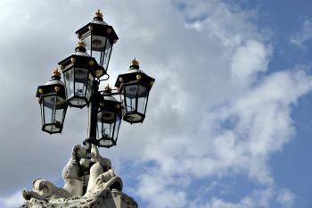 Street lights against the sky