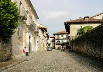 Street with traditional rustic houses