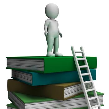 Student On Books Showing Educated