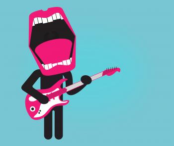 Stylized singer playing electric guitar