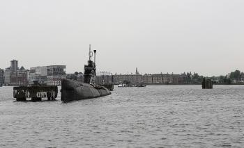 Submarine in Sea port