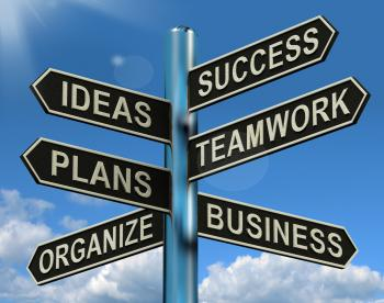 Success Ideas Teamwork Plans Signpost Showing Business Plans And Organ