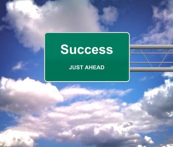 Success Just Ahead road sign - Success concept