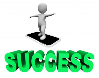 Success Online Represents Mobile Phone And Cellphone 3d Rendering