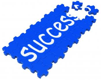 Success Puzzle Shows Accomplishment And Successful Business