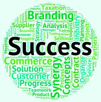 Success Word Shows Prevail Wordclouds And Win
