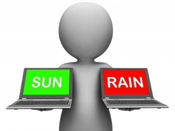 Sun Rain Laptops Shows Weather Forecast Sunny or Raining