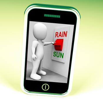 Sun Rain Switch Shows Weather Forecast Sunny or Raining