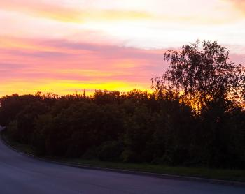 Sunset near the road