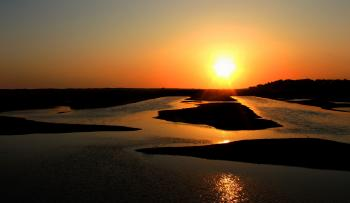 Sunset over the Ria Formosa Natural Park
