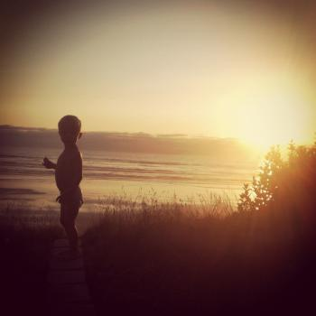 Sunset with Young Boy