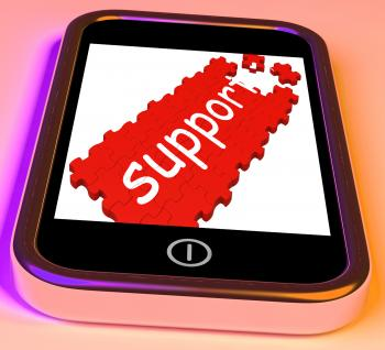 Support On Smartphone Showing Cellphones Customer Service