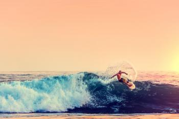 Surfer at Sunset - Color Filtered