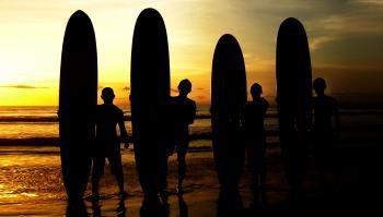 Surfers sunrise