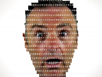 Surprised man looking into binary code - The online privacy problem