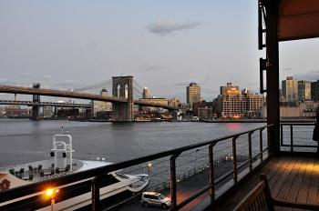 Suspension Bridge Near City Buildings
