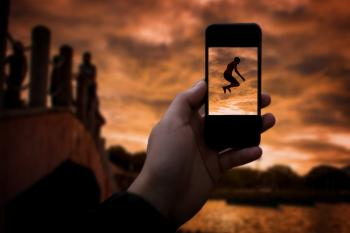 Taking a photo with smartphone