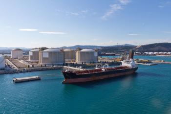 Tanker at oil storage terminal
