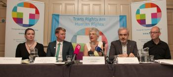 Tanya Ni Mhuirthile, Broden Giambrone, Senator Katherine Zappone, Colm O'Gorman and John Duffy at the Launch of the Gender Recognition Bill 2013