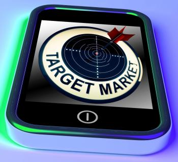 Target Market On Smartphone Shows Targeted Customers