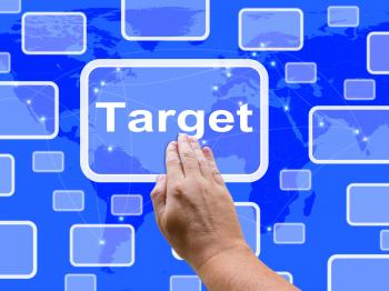 Target Touch Screen Shows Aims Objectives Or Aspirations