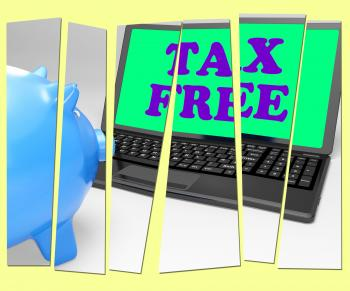 Tax Free Piggy Bank Shows Goods In No Tax Zone