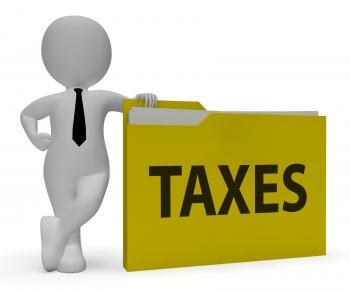 Taxes Folder Indicates Taxation Duties 3d Rendering
