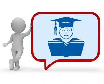 Teacher Speech Bubble Represents Give Lessons And Communication 3d Ren