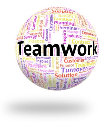 Teamwork Word Represents Wordcloud Unity And Together