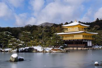 Temple Near Body Of Water Surrounded By Trees With Mountain Background