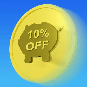Ten Percent Off Gold Coin Shows 10 Savings And Discount