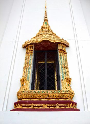 Thai style temple window at Wat Phra Kaew - Bangkok - Thailand