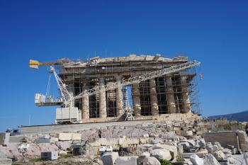 The Parthenon undergoing repairs