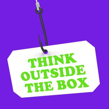 Think Outside The Box On Hook Shows Imagination And Creativity