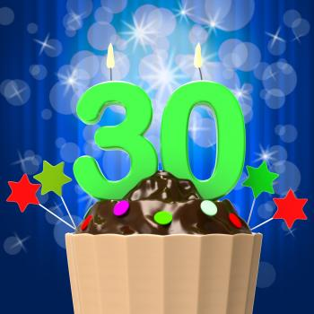Thirty Candle On Cupcake Shows Sweet Celebration Or Event