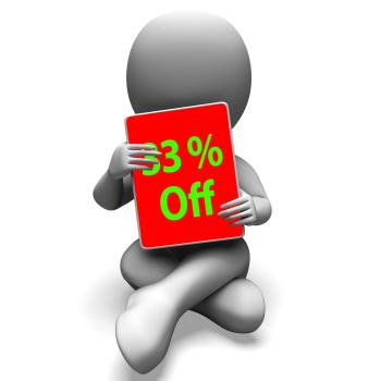 Thirty Three Percent Off Tablet Means 33 Discount Or Sale Online