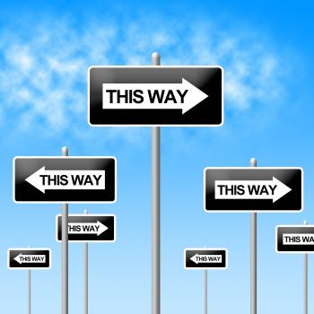 This Way Sign Represents Choice Direction And Signboard
