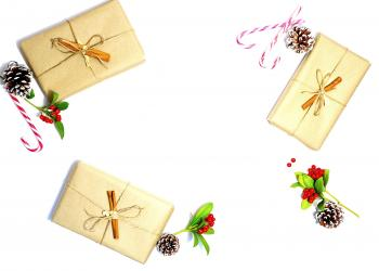 Three Beige Gift Boxes