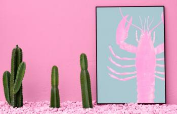 Three Green Cactus and Pink Beside Craw-fish Painting