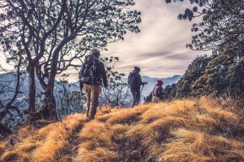 Three People Hiking on High Mountain