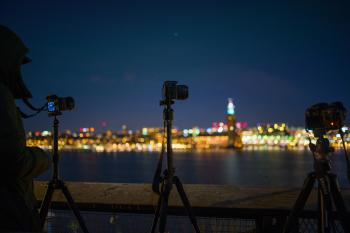 Tilt Shift Lens Photography of Camera With Tripod
