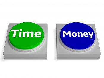 Time Money Buttons Shows Finances Or Leisure