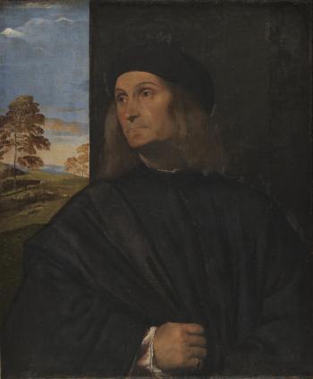 Tiziano Vecellio (1480-1576), Portrait of the Venetian Painter Giovanni Bellini?, 1511-12. dep15.