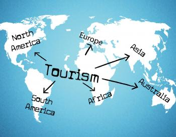 Tourism Worldwide Means Voyage Holiday And Globe
