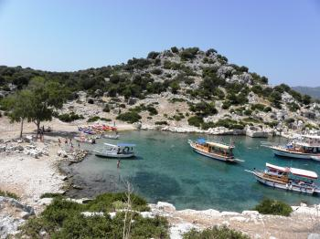 Tourist boats in the small bay of Kekova