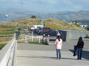 Tourists watch paraglider at New Brighto