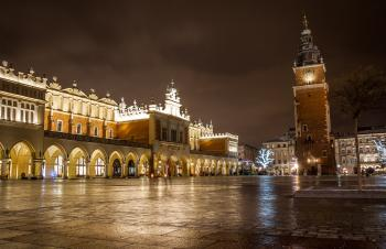 Town Hall Tower and Sukiennice, Krakow, Poland